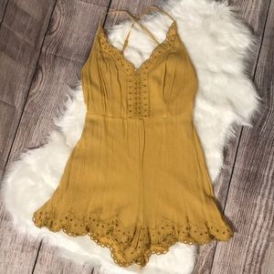 Lulus sunbeam yellow embroidered romper